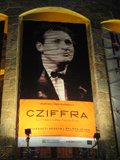 György Cziffra on the frontage MOMkult, in the evening
